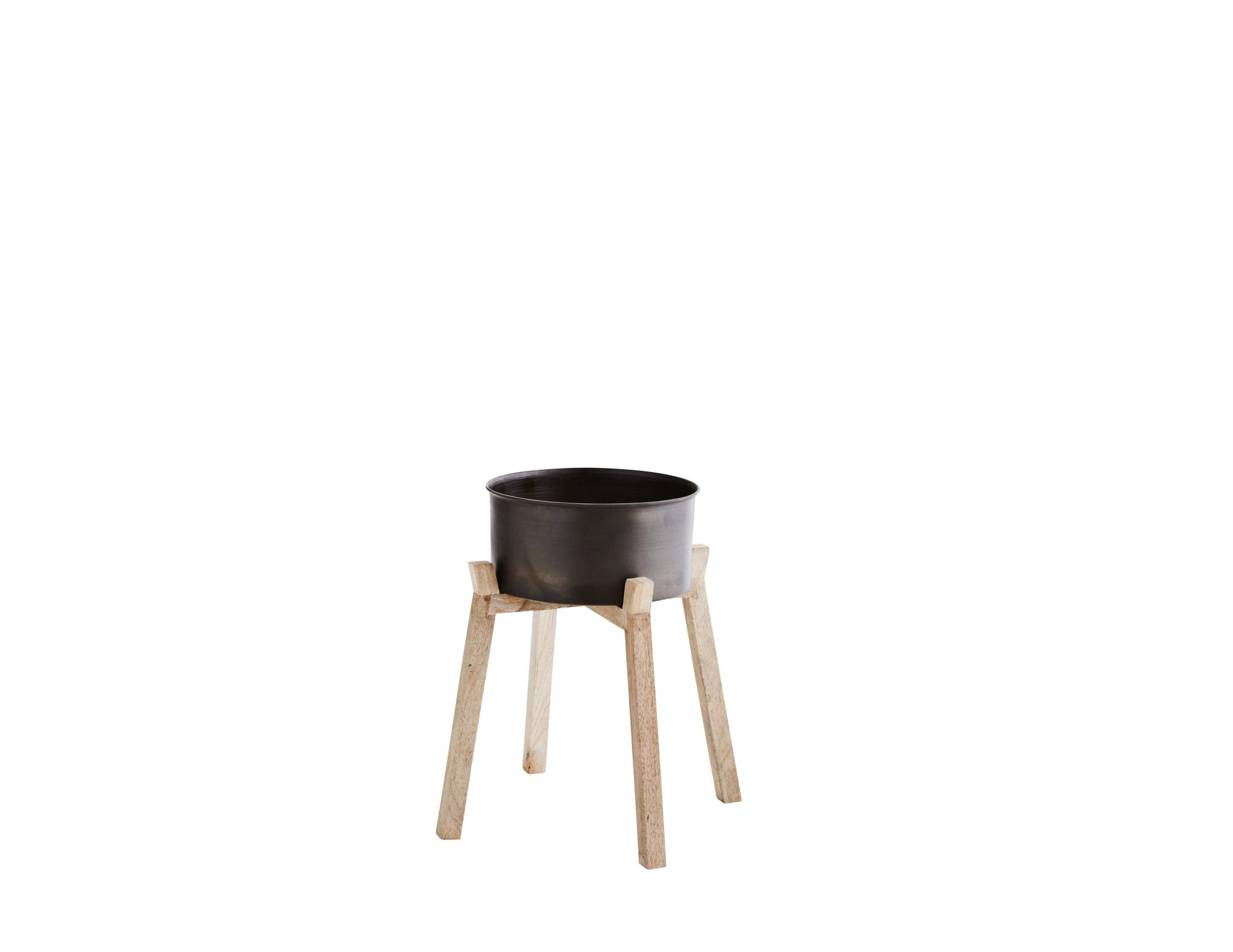 cache pot en m tal sur pieds en bois deko de l 39 eau. Black Bedroom Furniture Sets. Home Design Ideas