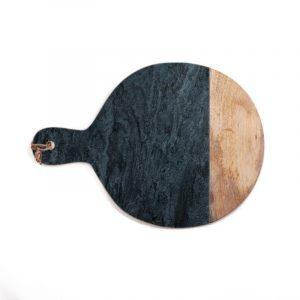 Planche à découper en marbre & bois ronde