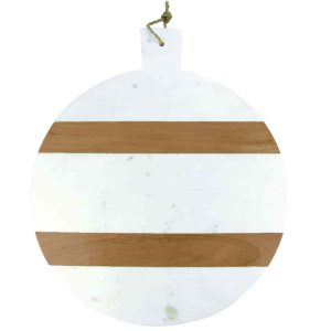 """Planche ronde """"White Marble & Wood"""" – XL"""
