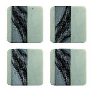 """Set de 4 sous-verre carrés """"White & Grey Marble"""""""