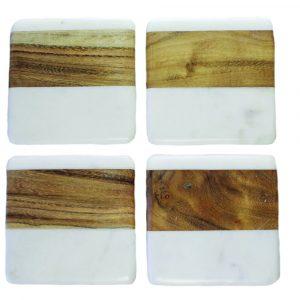 """Set de 4 sous-verre carrés """"White Marble & Wood"""""""