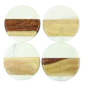 """Set de 4 sous-verre ronds """"White Marble & Wood"""""""
