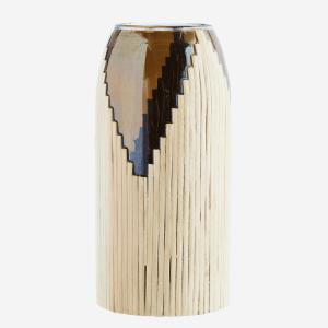 Vase en verre avec rotin – Large