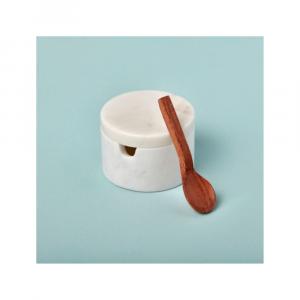 Récipient à condiments en marbre blanc avec cuillère en bois