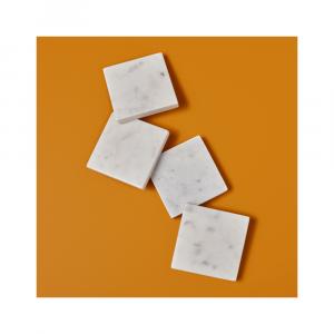 """Set de 4 sous-verre carrés """"White Marble"""""""