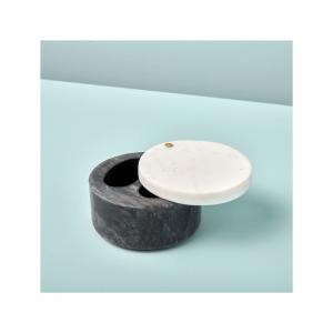Récipient à condiments en marbre gris et blanc avec couvercle pivotant