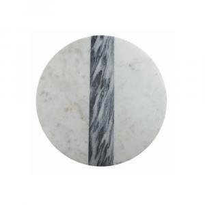 Planche ronde en marbre gris & blanc