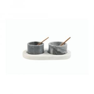 Récipient à condiments en marbre gris et blanc avec cuillère et plateau